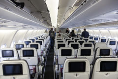 Inside of the Eurowings aircraft Royalty Free Stock Image