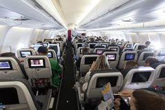Inside of an EuroWings aircraft Royalty Free Stock Photos