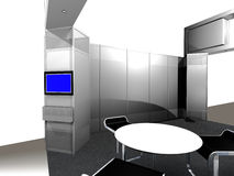 Inside of an exhibition Booth. 3d render of inside view of a trade exhibition booth Stock Photos