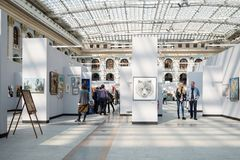 Inside of Exhibition hall of Moscow Gostiny Dvor stock photo