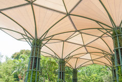 Inside of fabric roof structure stadium with plant Stock Photo