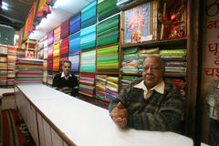 Inside the fabric showroom, delhi. India royalty free stock photography