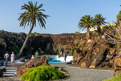 Jameos del Agua. Inside the famous volcanic cave formation Jameos del Agua on Lanzarote island Canary Islands stock images