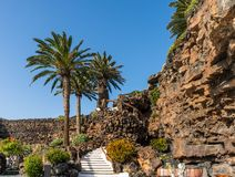 Jameos del Agua. Inside the famous volcanic cave formation Jameos del Agua on Lanzarote island Canary Islands stock image