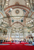 Inside the Fatih Mosque in Istanbul, Turkey Royalty Free Stock Photos