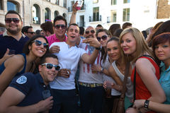 Inside the feast. BADAJOZ , SPAIN - MAY 03 : The annual lame pigeons (palomos cojos in spanish) party. A huge gay pride feast at High Square of Badajoz Stock Image