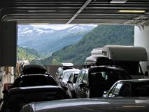 Inside of the ferry. Cars standing inside of the ferry Stock Photo