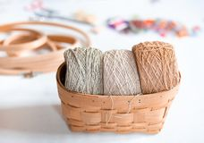 Organic Hemp yarns in the basket stock photography