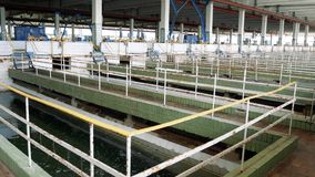 Inside the filter station. Treatment facilities for the preparation of drinking water for the city metropolis. Panoramic