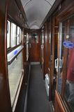 Inside of steam train carriage. The inside of the first class carriage of the Jacobite steam train 'Black 5' which runs on the West Coast railway. The Fort Stock Photos