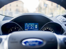 Inside a Ford car, Milano, Italy. View from the drivers view while driving a Ford Kuga / Escape suv - car Royalty Free Stock Photography