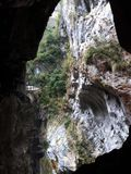 Inside the Formosa island marble mountain - Taroko Swallow Grotto royalty free stock image
