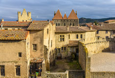 Inside the fortified city of Carcassonne Stock Images