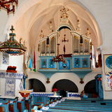 Inside the fortified medieval church in Dirjiu, Transylvania Stock Photo