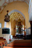 Inside the fortified medieval church in Vineyard Valley , Transylvania Royalty Free Stock Photo