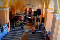 Inside the fortified medieval saxon church in the village Veseud, Zied , Transylvania,Romania Royalty Free Stock Images