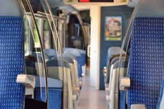 Inside A french local train. Royalty Free Stock Photography