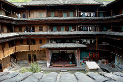 Inside of Fujian Tulou. These ancient architectures are located Yongding,Fujian province,China. China have 36 World Heritages,Fujian Tulou is one of them,Fujian Royalty Free Stock Photography