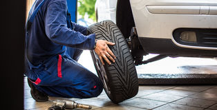 Inside a garage - changing wheels/tires stock image