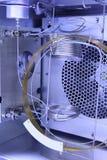 Inside Gas Chromatography Analyzer. Inside Gas Chromatography Analyzer on blue Stock Photos
