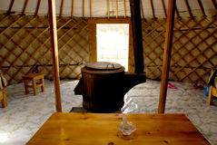 Inside a ger, Mongolia. An inside shot of a ger in a tourist camp close to Tsenkher hot springs in central Mongolia royalty free stock photos