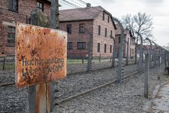 Inside the Nazi Concentration Camp of Auschwitz 1 showing the barrack buildings where prisoners lived in appalling conditions. Inside the German Concentration stock image