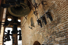 Inside of the Giralda Tower, Cathedral of Seville, Andalusia, Spain. Set of bells, visit interior of the Giralda tower, the Cathedral of Seville, Andalusia Royalty Free Stock Images