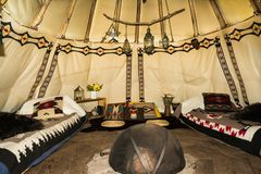 The inside of a Glamping Teepee Royalty Free Stock Image