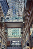 Inside the glass shopping center view upwards Royalty Free Stock Photo