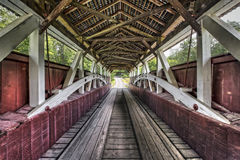 Inside Glessner Covered Bridge. Built in 1881, the Glessner Covered Bridge crosses the Stonycreek River near Shanksville in rural Somerset County, Pennsylvania Stock Image