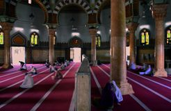 Inside the grand mosque in Medan, Indonesia. stock photo