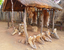 Inside of the Great Kraal in Shakaland Zulu Village, South Africa Royalty Free Stock Photo