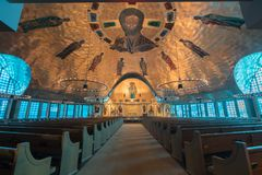 Inside the Greek Orthodox Cathedral of the Ascension. Oakland, California - February 11, 2018: Interior of Ascension Greek Orthodox Cathedral of Oakland Stock Images