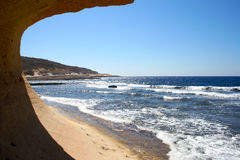 Inside grotto. View from grotto on Gozo island, Malta Royalty Free Stock Photos