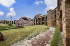 Inside the grounds of Fort Jefferson at Dry Tortugas. Inside the grounds of Fort Jefferson and large powder magazine royalty free stock photos