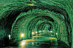 Inside of grungy tunnel Royalty Free Stock Images