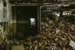 Inside gruzy budynek, rujnujący dom, mogą używać jako konsekwencje wojna, trzęsienie ziemi, huragan Zdjęcie Royalty Free