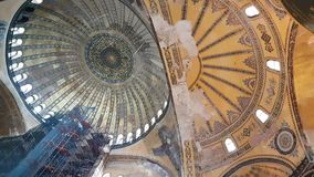 Inside of Hagia Sofia in Istanbul stock video
