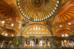 Inside the Hagia Sophia in Istanbul, Turkey. Interior of the Hagia Sophia in Istanbul, Turkey. Hagia Sophia is the greatest monument of Byzantine Culture royalty free stock photos