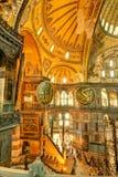 Inside the Hagia Sophia in Istanbul, Turkey. Interior of the Hagia Sophia on May 25, 2013 in Istanbul, Turkey. Hagia Sophia is the greatest monument of Byzantine royalty free stock image