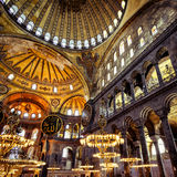 Inside the Hagia Sophia, Istanbul, Turkey. ISTANBUL - MAY 25, 2013: Inside the Hagia Sophia. Church of Hagia Sophia is the greatest monument of Byzantine Culture stock images
