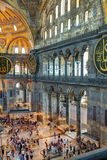 Inside the Hagia Sophia in Istanbul, Turkey. ISTANBUL - MAY 25, 2013: Tourists visiting the Hagia Sophia on may 25, 2013 in Istanbul, Turkey. Hagia Sophia is the royalty free stock photography