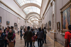 Inside the hall of Louvre Museum. Royalty Free Stock Photos