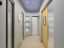 Inside hallway. With frosted glass Stock Photo