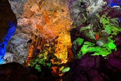 INSIDE HANG SUNG SOT CAVE, HALONG BAY. VIETNAM stock photos