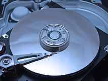 Inside Hard. Internal disc of hard drive in blue colors Stock Image