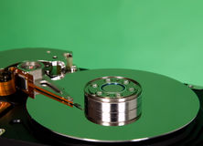 Inside of hard disc  on green background Royalty Free Stock Image