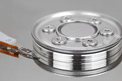 Inside hard disk drive Royalty Free Stock Images