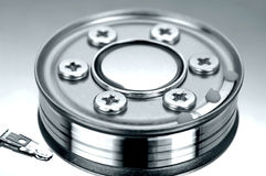 Inside hard disk drive Royalty Free Stock Photos