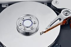 Inside hard disk drive, DOF Stock Photography